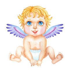 Cute watercolor baby cupid valentines day vector