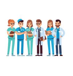 doctors set medical staff team doctor nurse vector image