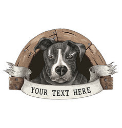 Dog farm logo hand draw vintage engraving style vector