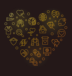 donation icons in heart shape - golden vector image