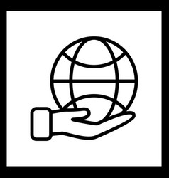earth on hand icon vector image