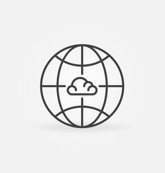 earth with cloud inside linear concept icon vector image