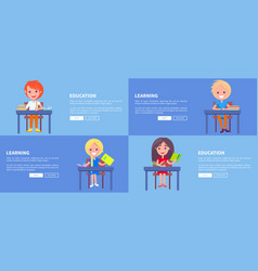 Education learning set of posters with boy vector