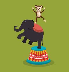 Elephant circus show icons vector