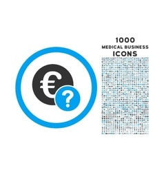 Euro Status Rounded Icon with 1000 Bonus Icons vector image