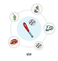 Famous American Symbols Doodle Concept vector