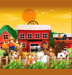 Farm in nature scene with house and animal vector