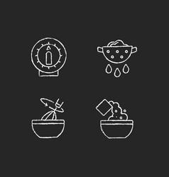 Food preparation chalk white icons set on dark vector