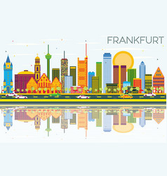 frankfurt skyline with color buildings blue sky vector image