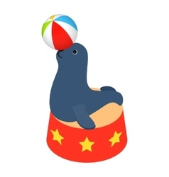 Fur seal circus isometric 3d icon vector
