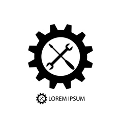 Gear wheel and piece as logo vector image