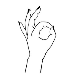 gesture - female hand showing ok sign isolated vector image