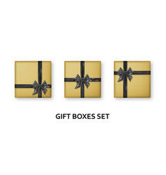 Golden gift boxes with black ribbons and bows vector