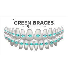Green child braces tooth and dental braces vector