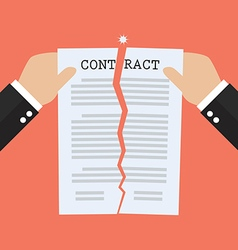 Hands tearing apart contract document paper vector