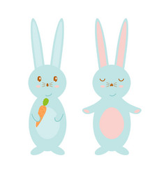 happy easter bunnies cute vector image
