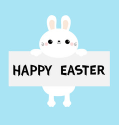 happy easter white bunny rabbit hanging on paper vector image