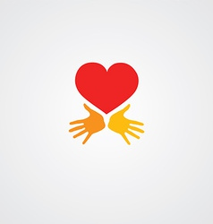 heart with hands symbol vector image
