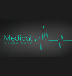 Heartbeat ekg pulse tracing on black background vector