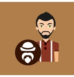 Hipster style character bearded hat retro vector