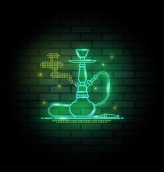hookah neon signs on dark brick wall background vector image