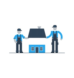 House building workers season renovation vector image