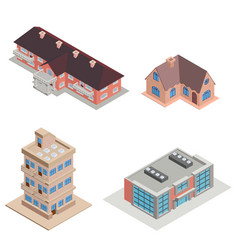 Isometric city multistory house collection vector