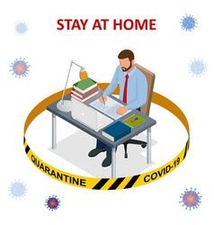 Isometric work from home corona virus - staying vector