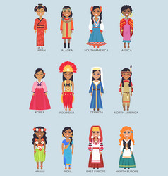 Japan and alaska set of women vector