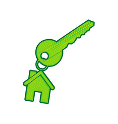 Key with keychain as an house sign lemon vector