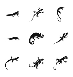 Lizard icons set simple style vector image