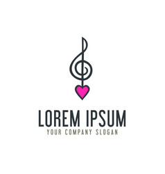 Love music note logo design concept template vector