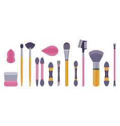 Make-up brushes and sponges flat icon set vector