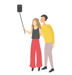 man and woman making selfie on smartphone on stick vector image