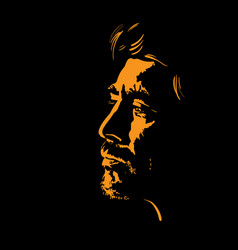 man portrait silhouette in backlight contrast vector image