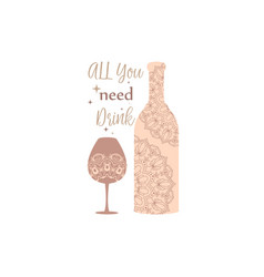 Modern saddle brown color bottle and glass vector