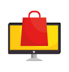 Monitor computer with shopping bag vector