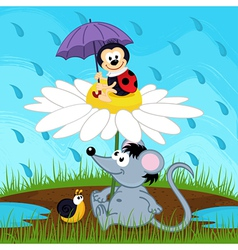 Mouse ladybug snail hiding from rain vector