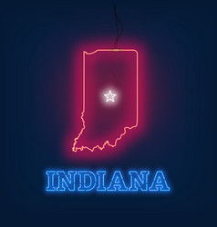 neon map state of indiana on dark background vector image