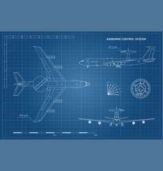 outline blueprint military aircraft vector image