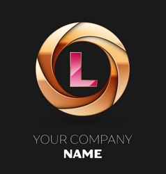 pink letter l logo symbol in golden circle shape vector image