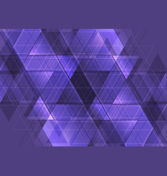 Purple abstract tech triangles mosaic pattern vector