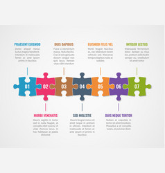 puzzle timeline infographic with options diagram vector image