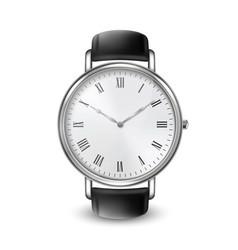 Realistic silver steel classic unisex wrist watch vector