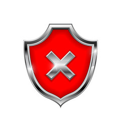 red shield sign decline 3d symbol isolated on vector image
