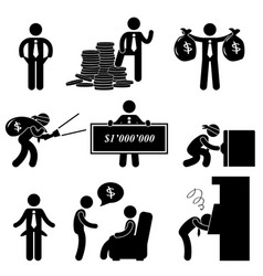 Rich poor success failure desperate businessman vector