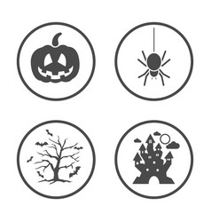 Rounded halloween icons set icon design vector