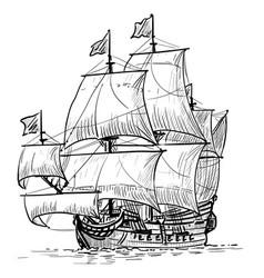 sailing ship vintage frigate on waves hand vector image