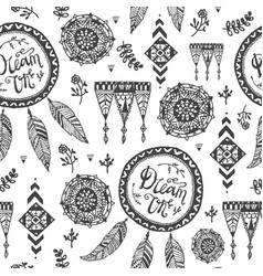 seamless hand drawn doodle tribal pattern vector image