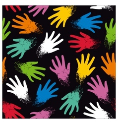 Seamless pattern of colored randomly hands vector